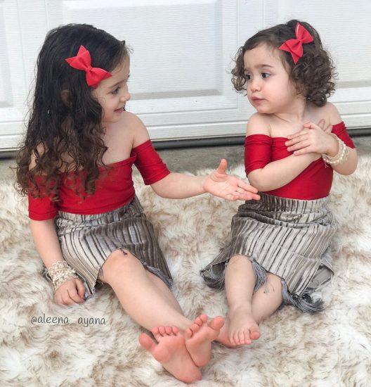 اجمل ملابس اطفال للتؤام والاخوات البنات نفس الاستايل والموديلات 2018