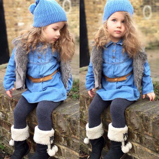 اشيك ملابس جينز للاطفال البنات 2018